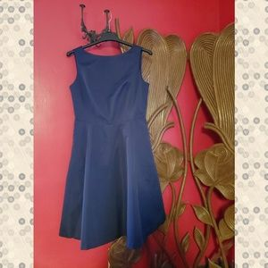 Navy party dress with keyhole back